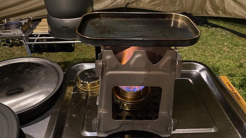 ロックパンS アルコールストーブで焼き肉準備1